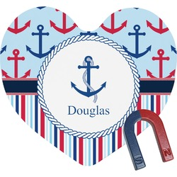 Anchors & Stripes Heart Fridge Magnet (Personalized)