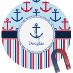 Anchors & Stripes Round Fridge Magnet (Personalized)