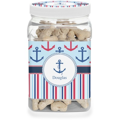 Anchors & Stripes Dog Treat Jar (Personalized)