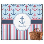 Anchors & Stripes Outdoor Picnic Blanket (Personalized)