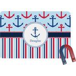 Anchors & Stripes Rectangular Fridge Magnet (Personalized)