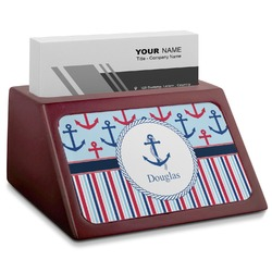 Anchors & Stripes Red Mahogany Business Card Holder (Personalized)
