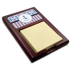 Anchors & Stripes Red Mahogany Sticky Note Holder (Personalized)