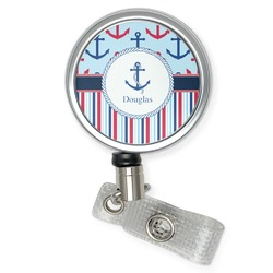Anchors & Stripes Retractable Badge Reel (Personalized)