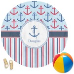 Anchors & Stripes Round Beach Towel (Personalized)