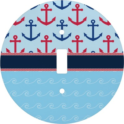 Anchors & Stripes Round Light Switch Cover (Personalized)