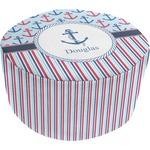 Anchors & Stripes Round Pouf Ottoman (Personalized)