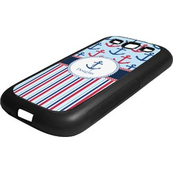 Anchors & Stripes Rubber Samsung Galaxy 3 Phone Case (Personalized)