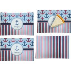 Anchors & Stripes Set of 4 Glass Rectangular Appetizer / Dessert Plate (Personalized)