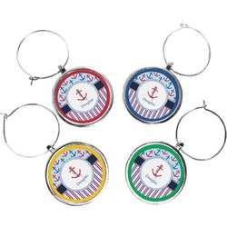Anchors & Stripes Wine Charms (Set of 4) (Personalized)