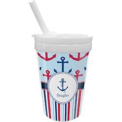 Anchors & Stripes Sippy Cup with Straw (Personalized)