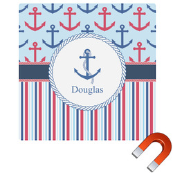 "Anchors & Stripes Square Car Magnet - 6"" (Personalized)"