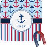 Anchors & Stripes Square Fridge Magnet (Personalized)