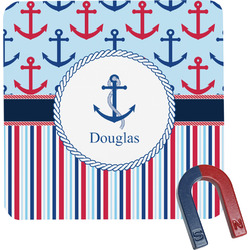 Anchors & Stripes Square Fridge Magnet (Personalized)
