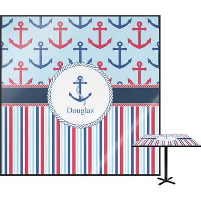 Anchors & Stripes Square Table Top (Personalized)