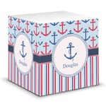 Anchors & Stripes Sticky Note Cube (Personalized)