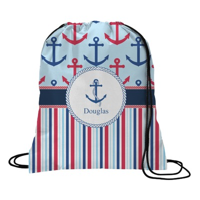 Anchors & Stripes Drawstring Backpack (Personalized)
