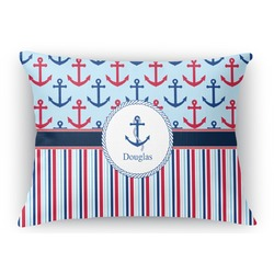 Anchors & Stripes Rectangular Throw Pillow (Personalized)