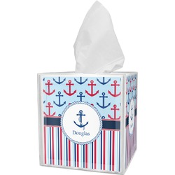 Anchors & Stripes Tissue Box Cover (Personalized)