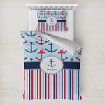 Anchors & Stripes Toddler Bedding w/ Name or Text