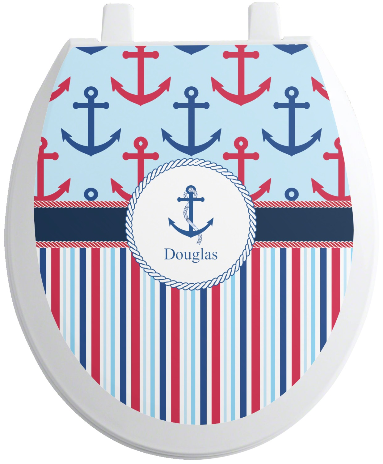 Fantastic Anchors Stripes Toilet Seat Decal Personalized Gamerscity Chair Design For Home Gamerscityorg