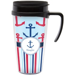 Anchors & Stripes Travel Mug with Handle (Personalized)