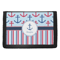 Anchors & Stripes Trifold Wallet (Personalized)