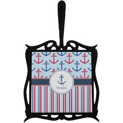 Anchors & Stripes Trivet with Handle (Personalized)