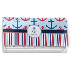 Anchors & Stripes Vinyl Check Book Cover (Personalized)