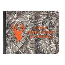 Hunting Camo Genuine Leather Men's Bi-fold Wallet (Personalized)