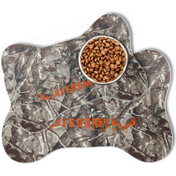 Hunting Camo Bone Shaped Dog Food Mat (Personalized)