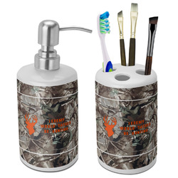 Hunting Camo Ceramic Bathroom Accessories Set (Personalized)