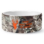 Hunting Camo Ceramic Dog Bowl (Personalized)