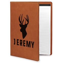 Hunting Camo Leatherette Portfolio with Notepad - Large - Single Sided (Personalized)