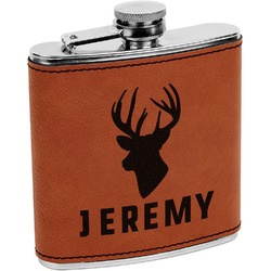 Hunting Camo Leatherette Wrapped Stainless Steel Flask (Personalized)