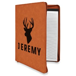 Hunting Camo Leatherette Zipper Portfolio with Notepad (Personalized)