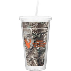 Hunting Camo Double Wall Tumbler with Straw (Personalized)