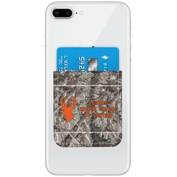 Hunting Camo Genuine Leather Adhesive Phone Wallet (Personalized)