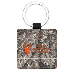 Hunting Camo Genuine Leather Rectangular Keychain (Personalized)