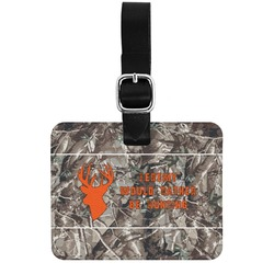 Hunting Camo Genuine Leather Rectangular  Luggage Tag (Personalized)