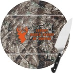 Hunting Camo Round Glass Cutting Board (Personalized)