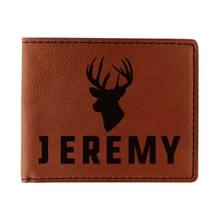 Hunting Camo Leatherette Bifold Wallet - Double Sided (Personalized)