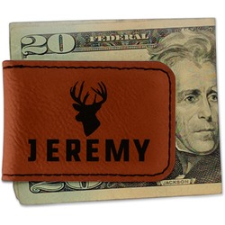 Hunting Camo Leatherette Magnetic Money Clip (Personalized)