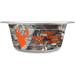 Hunting Camo Stainless Steel Dog Bowl (Personalized)