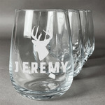 Hunting Camo Stemless Wine Glasses (Set of 4) (Personalized)
