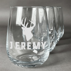 Hunting Camo Wine Glasses (Stemless Set of 4) (Personalized)