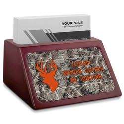 Hunting Camo Red Mahogany Business Card Holder (Personalized)