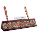 Hunting Camo Red Mahogany Nameplate with Business Card Holder (Personalized)