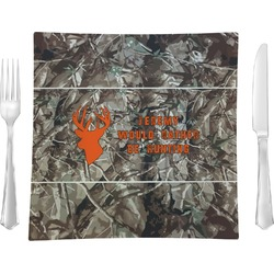 "Hunting Camo Glass Square Lunch / Dinner Plate 9.5"" - Single or Set of 4 (Personalized)"