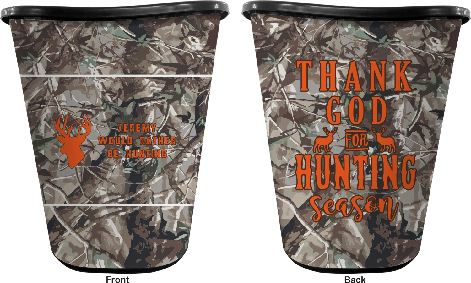 Hunting Camo Waste Basket Double Sided Black